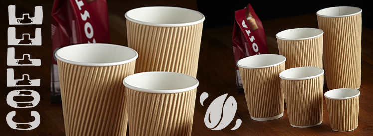 Takeaway Kraft Ripple Coffee Cups