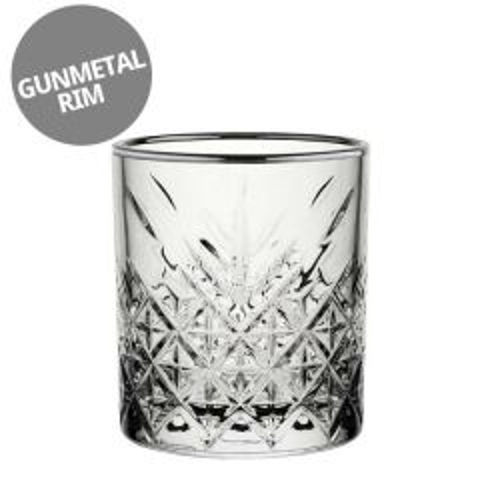 Timeless Vintage Gunmetal Rim Double Old Fashioned Glass 12.5oz / 35.5cl