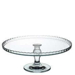 """Glass Patisserie Upturned Edged Footed Plate 12.5"""" / 32cm Diameter"""