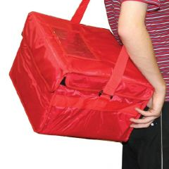 "Red Nylon Hot & Cold Food Delivery Bag 16x14x10"" / 41x36x25cm"