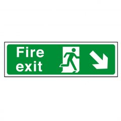 Green Fire Exit Arrow Right Down Sticker 15x45cm