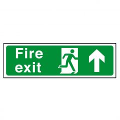 Green Fire Exit Arrow Up / Straight On Sticker 15x45cm