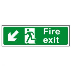 Green Fire Exit Arrow Left Down Sticker 15x45cm