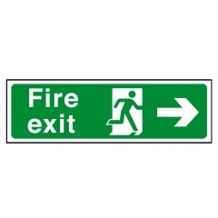 Green Fire Exit Arrow Right Sticker 15x45cm