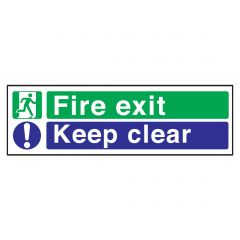 Green/Blue Fire Exit, Keep Clear Plastic Sign 15x45cm
