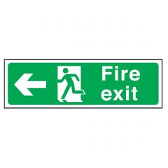 Green Fire Exit Arrow Left Sticker 15x45cm