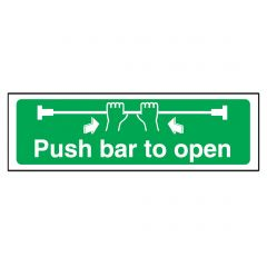 Green Push Bar to Open Plastic Sign 15x45cm