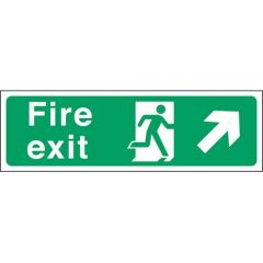 Green Fire Exit Arrow Right Up Flexible Plastic Sign 15x45cm