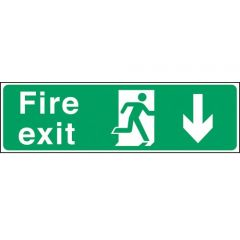 Green Fire Exit Arrow Down Sticker 15x45cm