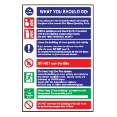 Fire Action 'What You Should Do' Glow In The Dark Sign 30x20cm