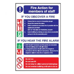 Fire Action 'Members of Staff' Flexible Plastic Sign 30x20cm