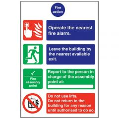 Fire Action Plastic Sign 30x20cm