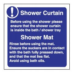 Shower Curtain/Shower Mat Self Adhesive Sign (pack of 5)100x100mm