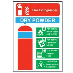 Dry Powder Fire Extinguisher Sticker 20x14cm