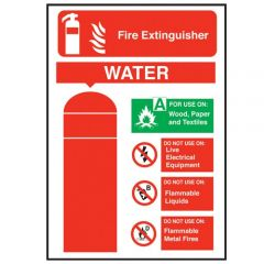 Water Fire Extinguisher Sticker 20x14cm