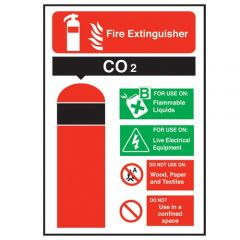 CO2 Fire Extinguisher Sticker 20x14cm