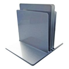 3 Channel Plain Menu Holder Brushed Silver 110x100x110mm