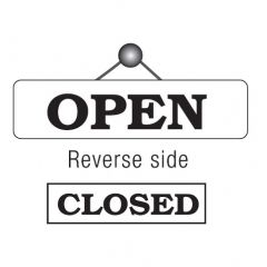 Black on White Reversible Open / Closed Sign 8x30cm