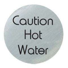 Satin Silver 'Caution Hot Water' Disc 75mm