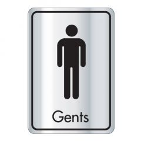 Self Adhesive (Symbol) Gents Door Sign Black on Silver 128x83mm