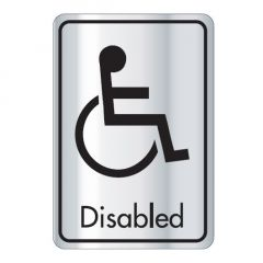 Self Adhesive (Symbol) Disabled Door Sign Black on Silver 128x83mm