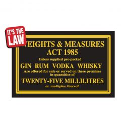 Weights & Measures Act Traditional Bar Notice 25ml
