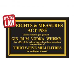 Weights & Measures Act Traditional Bar Notice 35ml