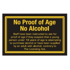 No Proof of Age, No Alcohol Small Traditional Bar Notice