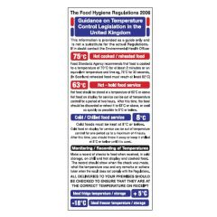 Temperature Control Legislation Guidance Sticker 25x10cm