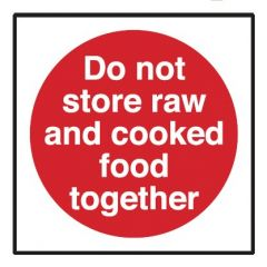Do Not Store Raw & Cooked Food Together Sticker 10x10cm