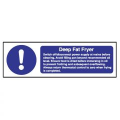 Deep Fat Fryer Safety Notice 100x300mm