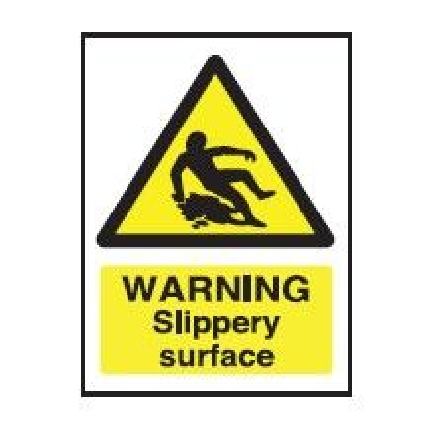 Yellow Warning Slippery Surface Sticker 20x15cm
