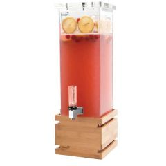 Rosseto Acrylic Square Beverage Dispenser With Bamboo Base 7.6 Litre