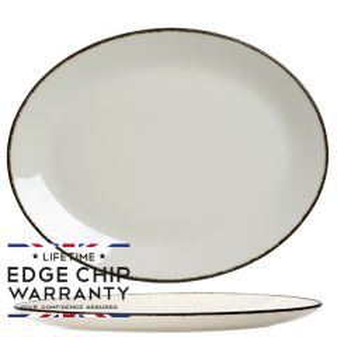 "Steelite Charcoal Dapple Oval Coupe Plate 13.5"" / 34.2cm"