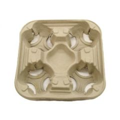 Four Cup Moulded Fibreboard Cup Carry Tray