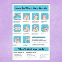 How To Wash Your Hands & When To Wash Your Hands Sticker 30x20cm