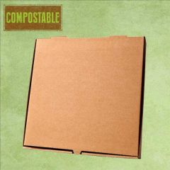 "Compostable Plain Brown Cardboard Pizza Delivery Box 9"" / 24cm"