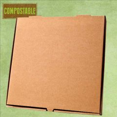 "Compostable Plain Brown Cardboard Pizza Delivery Box 14"" / 35.5cm"