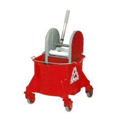 Red Smoothline Kentucky Mop Bucket with Plastic Wringer 23Ltr