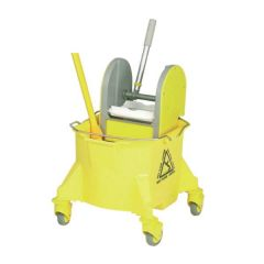 Yellow Smoothline Kentucky Mop Bucket with Plastic Wringer 23Ltr