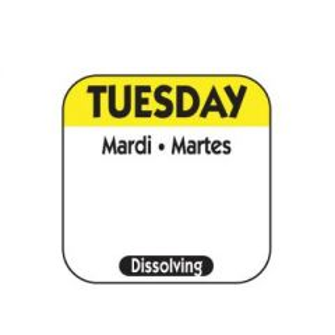 "Tuesday Trilingual Dissolving Food Rotation Label 1x1""/25x25mm"