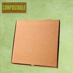 "Compostable Plain Brown Cardboard Pizza Delivery Box 7"" / 19cm"