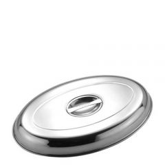 "Stainless Steel Oval Vegetable Dish Cover 10"" / 25.4cm"