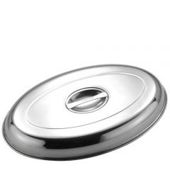 "Stainless Steel Oval Vegetable Dish Cover 14"" / 35cm"