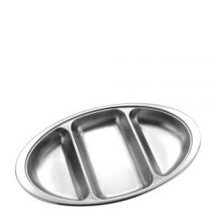 "Stainless Steel Oval 3 Division Vegetable Dish 14"" / 35cm"