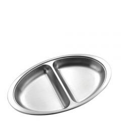 "Stainless Steel Oval 2 Division Vegetable Dish 12"" / 30cm"