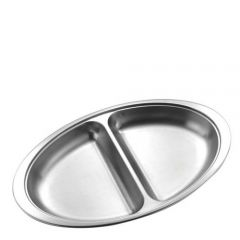 "Stainless Steel Oval 2 Division Vegetable Dish 14"" / 35cm"