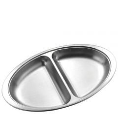 "Stainless Steel Oval 2 Division Vegetable Dish 20"" / 51cm"