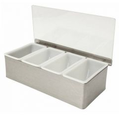 Stainless Steel Condiment Dispenser 4 Compartment