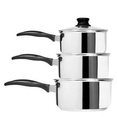 Stainless Steel Pan Set 14/16/18cm with Black Plastic Handle